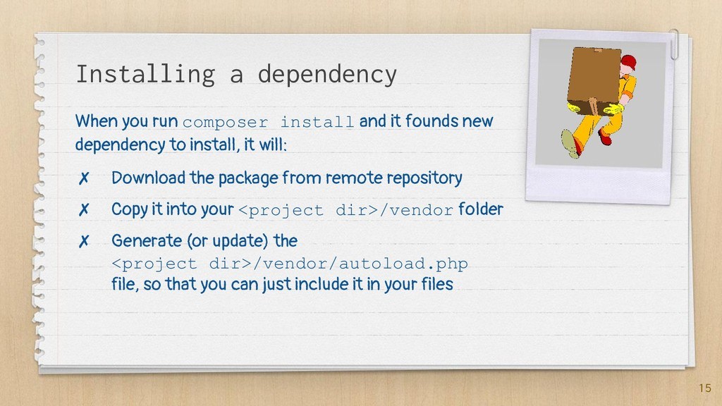 Installing a dependency 15 When you run compose...