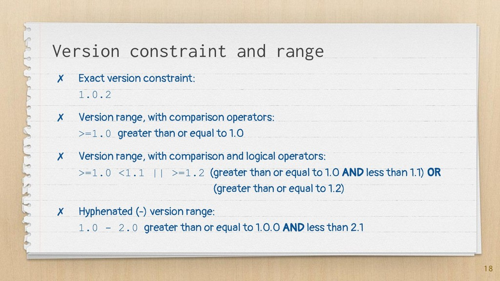 Version constraint and range ✗ Exact version co...