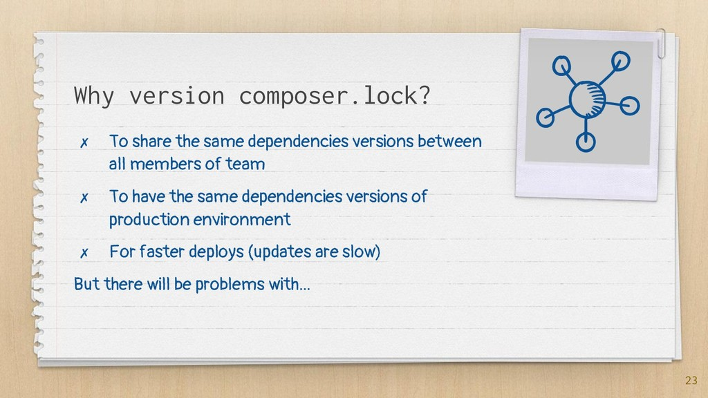 Why version composer.lock? ✗ To share the same ...
