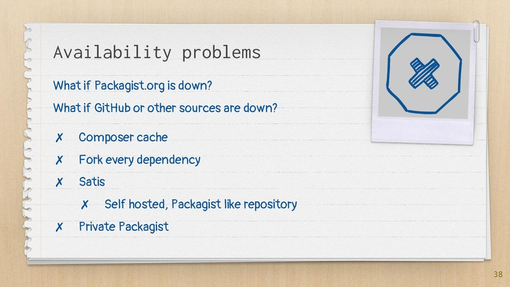 Availability problems 38 What if Packagist.org ...