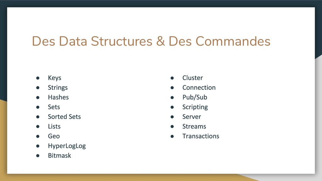 Des Data Structures & Des Commandes ● ● ● ● ● ●...