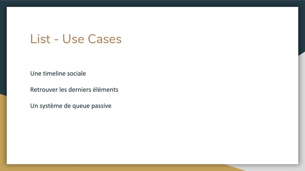 List - Use Cases