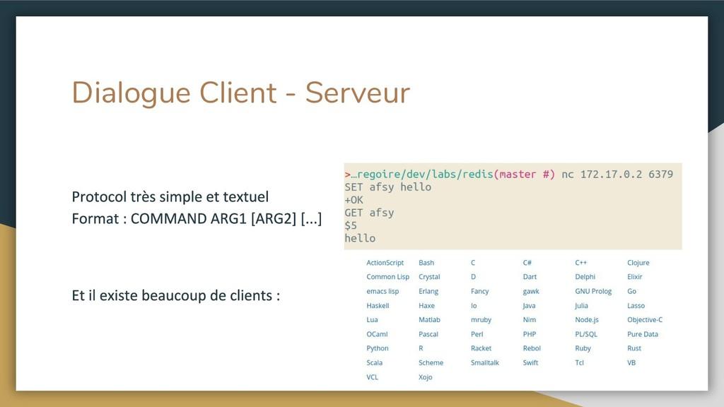 Dialogue Client - Serveur