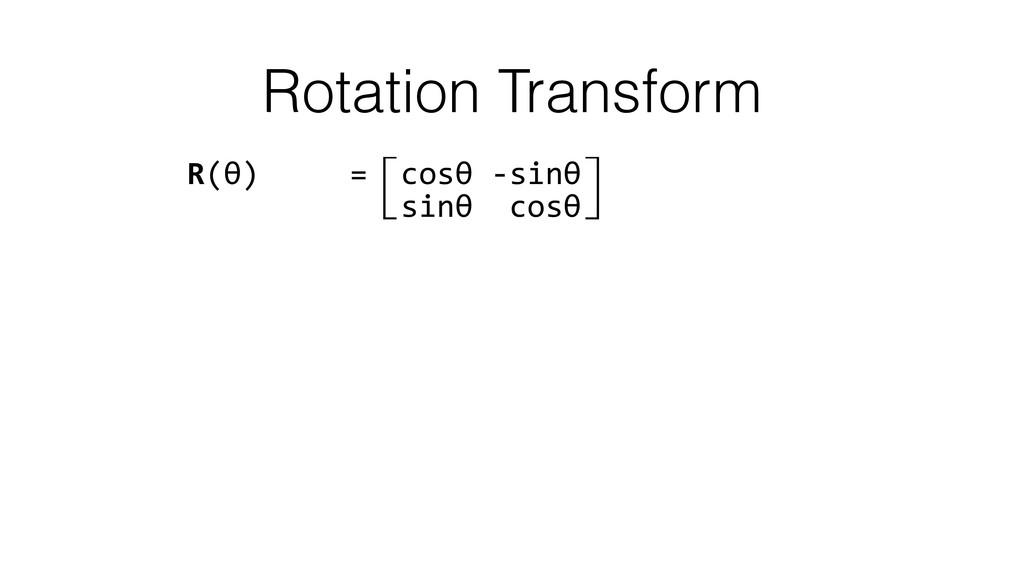Rotation Transform R(θ)     =⽷co...