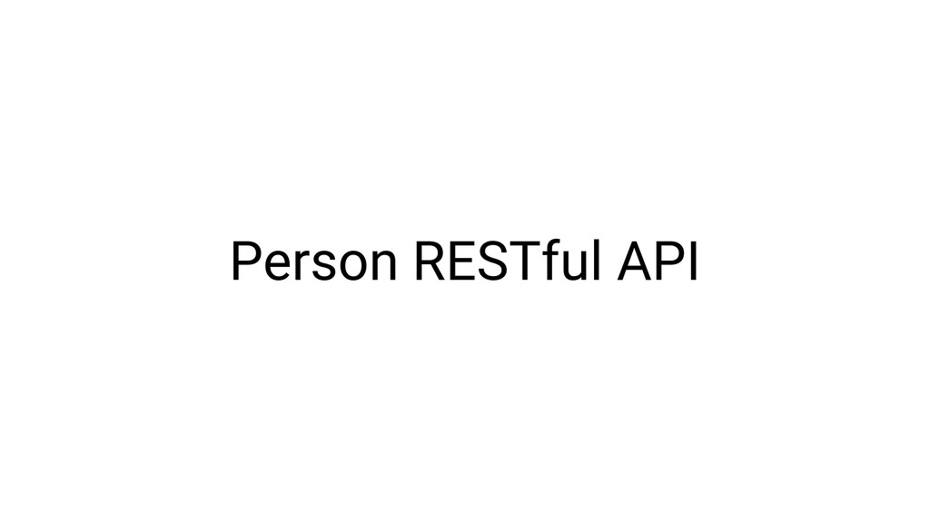 Person RESTful API