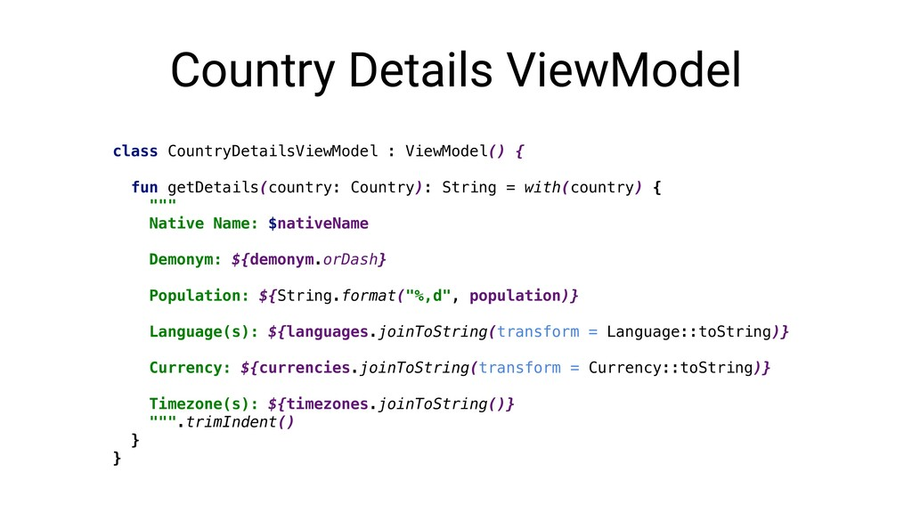 Country Details ViewModel class CountryDetailsV...
