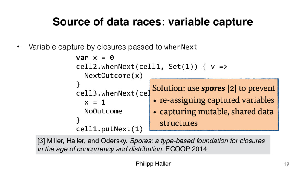 Philipp Haller Source of data races: variable c...