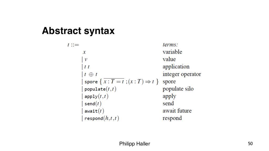 Philipp Haller 50 Abstract syntax