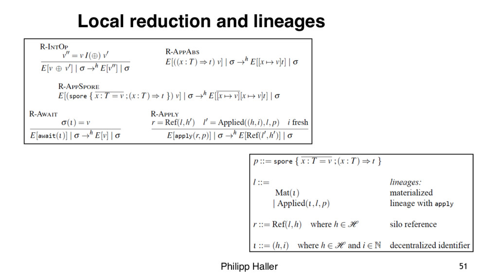 Philipp Haller 51 Local reduction and lineages