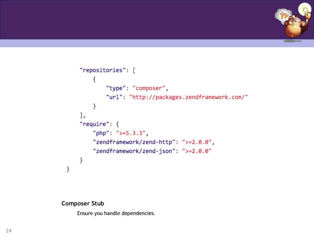 24 Composer Stub Ensure you handle dependencies.