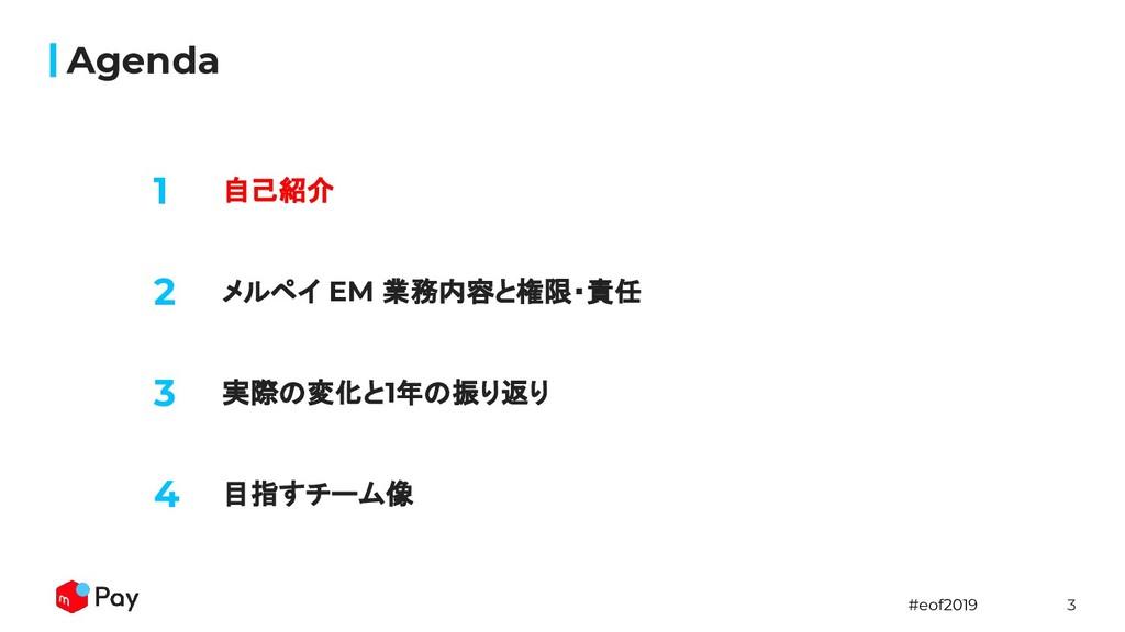 #eof2019 3 Agenda 1 自己紹介 2 メルペイ EM 業務内容と権限・責任 3...