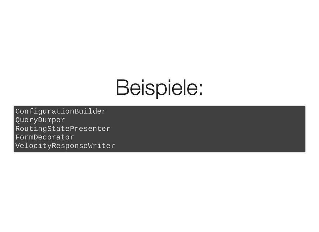 Beispiele: Beispiele: ConfigurationBuilder Quer...