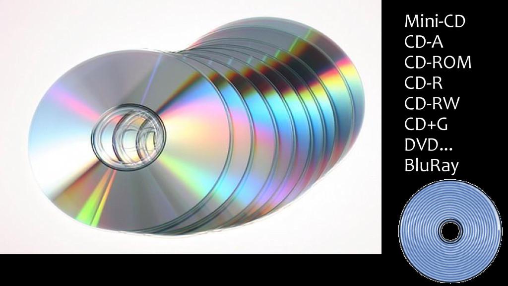 Mini-CD CD-A CD-ROM CD-R CD-RW CD+G DVD... BluR...