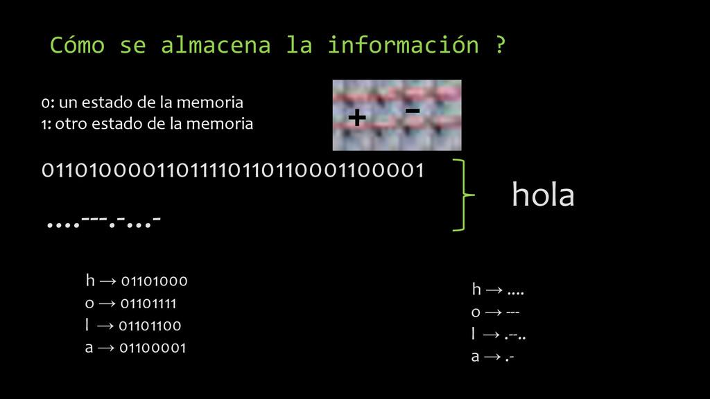 Cómo se almacena la información ? 0110100001101...