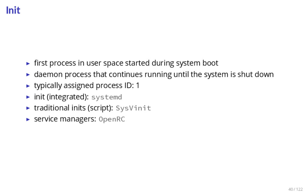 Init ▶ first process in user space started durin...