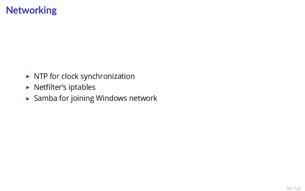 Networking ▶ NTP for clock synchronization ▶ Ne...