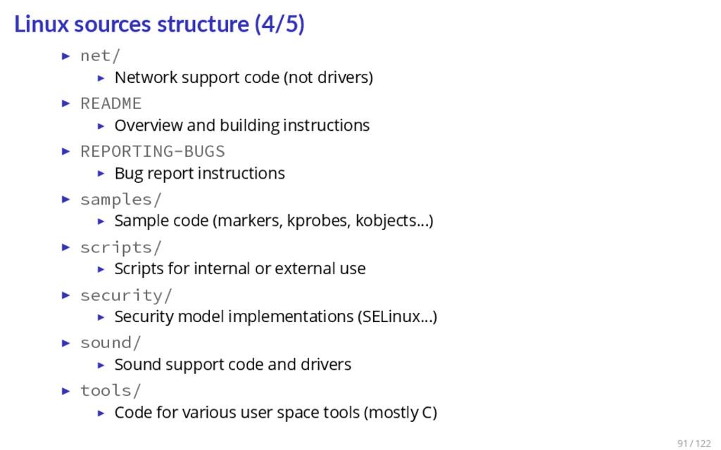Linux sources structure (4/5) ▶ net/ ▶ Network ...