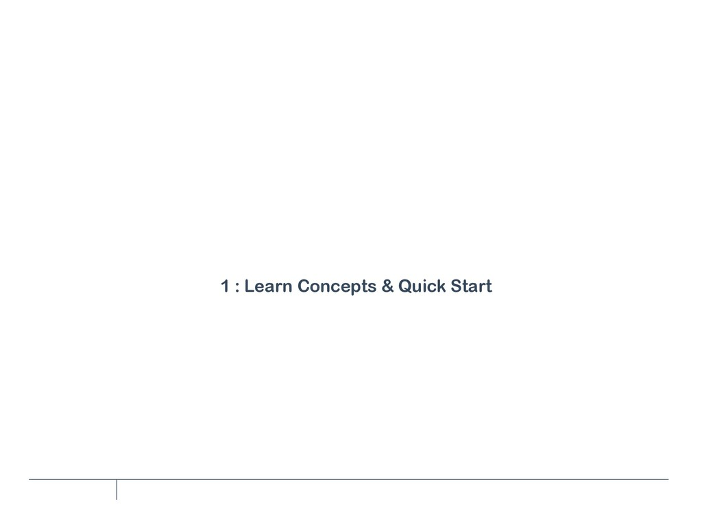 1 : Learn Concepts & Quick Start