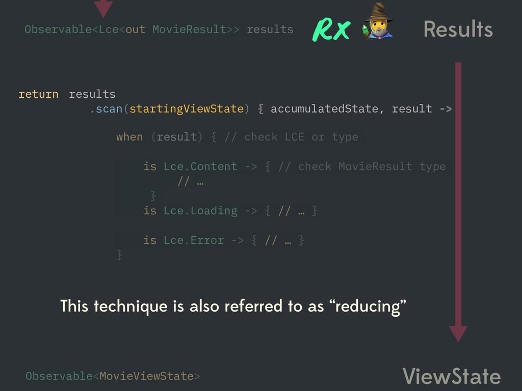Results ViewState when (result) { // check LCE ...