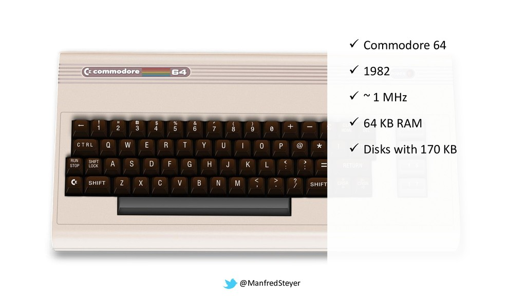 @ManfredSteyer ✓ Commodore 64 ✓ 1982 ✓ ~ 1 MHz ...