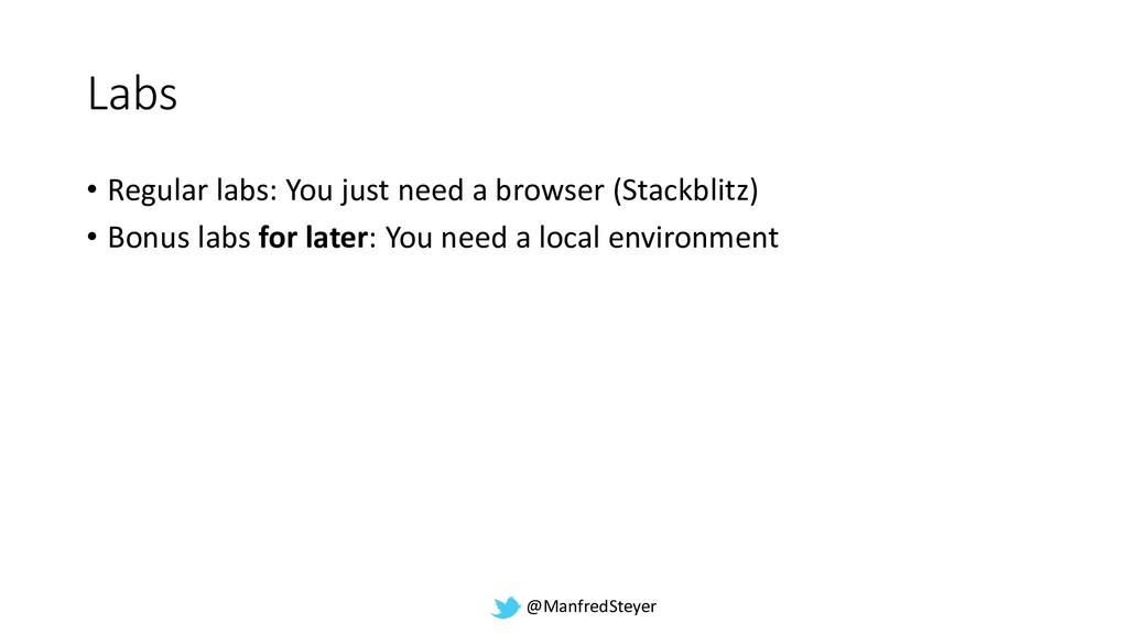 @ManfredSteyer Labs • Regular labs: You just ne...