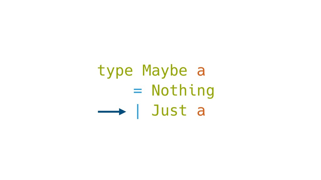 type Maybe a = Nothing | Just a