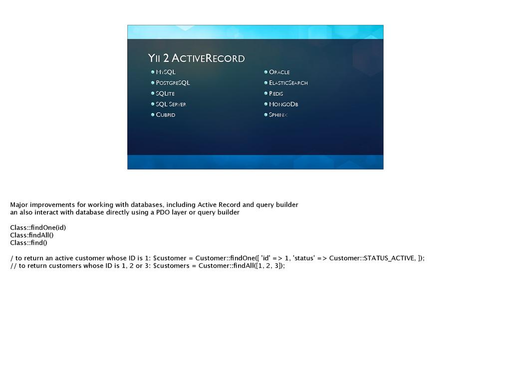 YII 2 ACTIVERECORD MYSQL  POSTGRESQL  SQLIT...