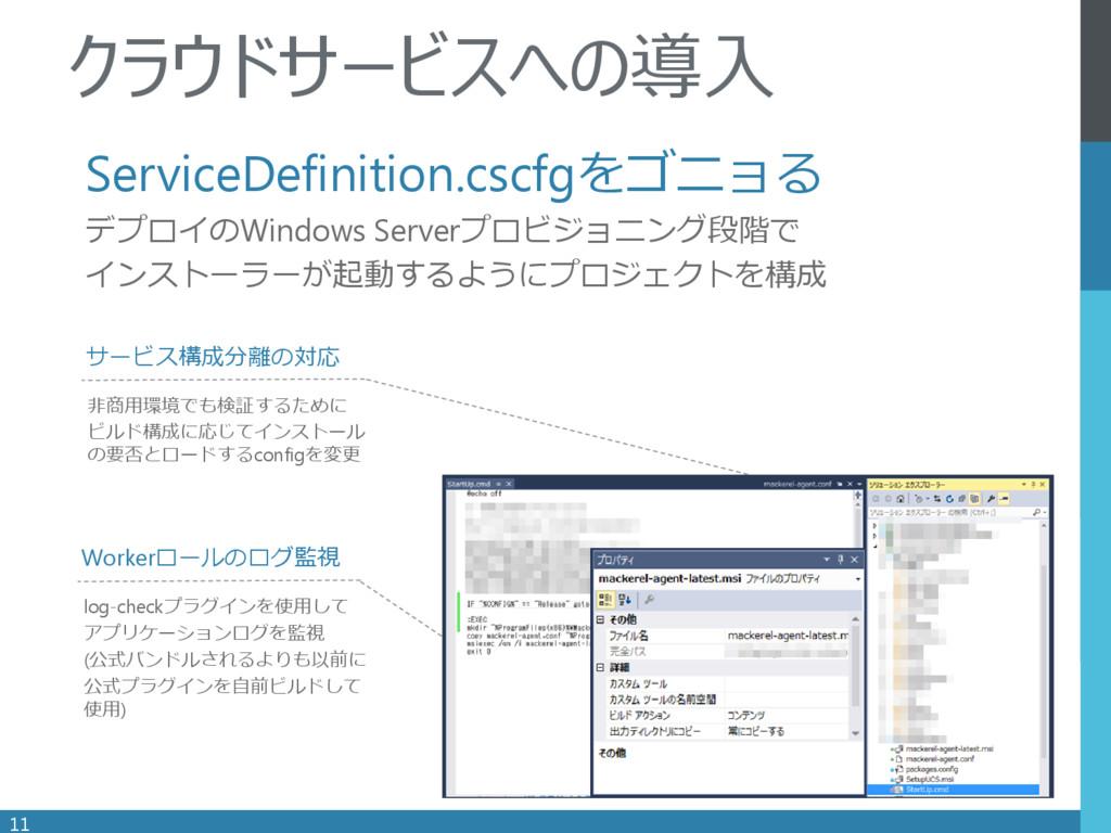 . ServiceDefinition.cscfgをゴニョる デプロイのWindows Ser...