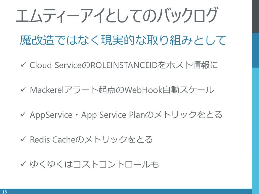 . 魔改造ではなく現実的な取り組みとして  Cloud ServiceのROLEINSTAN...