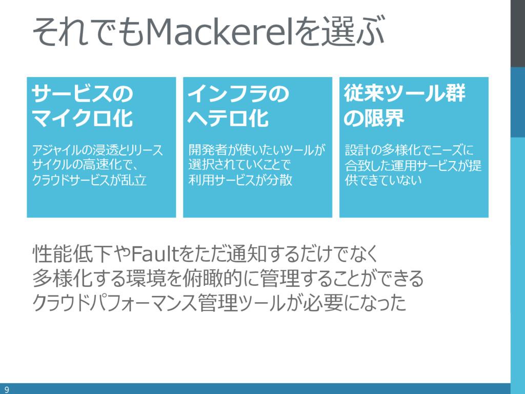 . 9 それでもMackerelを選ぶ インフラの ヘテロ化 サービスの マイクロ化 従来ツー...