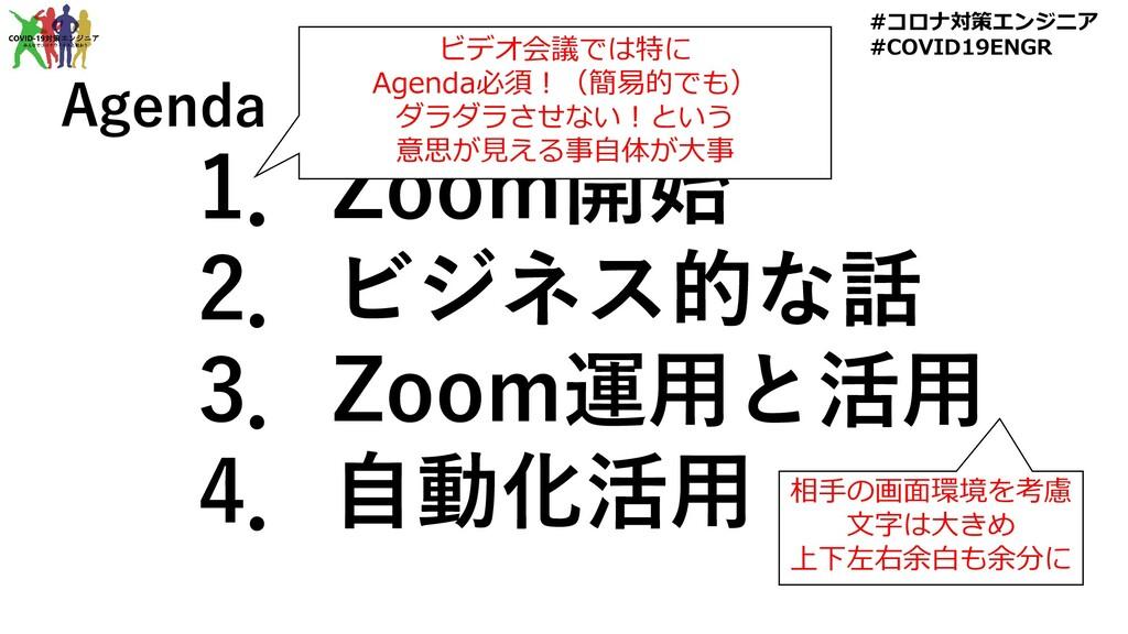1.Zoom開始 2.ビジネス的な話 3.Zoom運用と活用 4.自動化活用 Agenda ビ...
