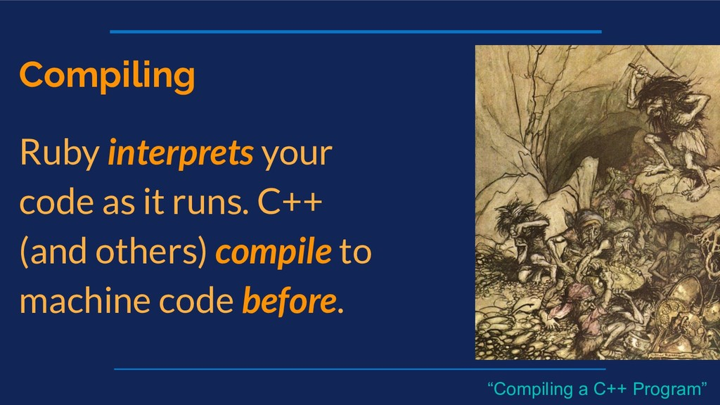 Compiling Ruby interprets your code as it runs....