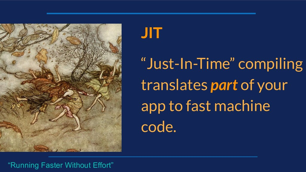 "JIT ""Just-In-Time"" compiling translates part of..."