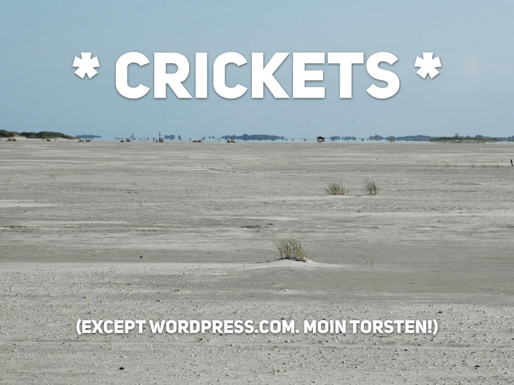 * CRICKETS * (except wordpress.com. Moin TORSTE...