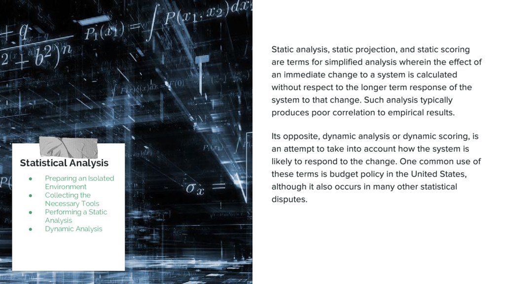 Statistical Analysis ● Preparing an Isolated En...