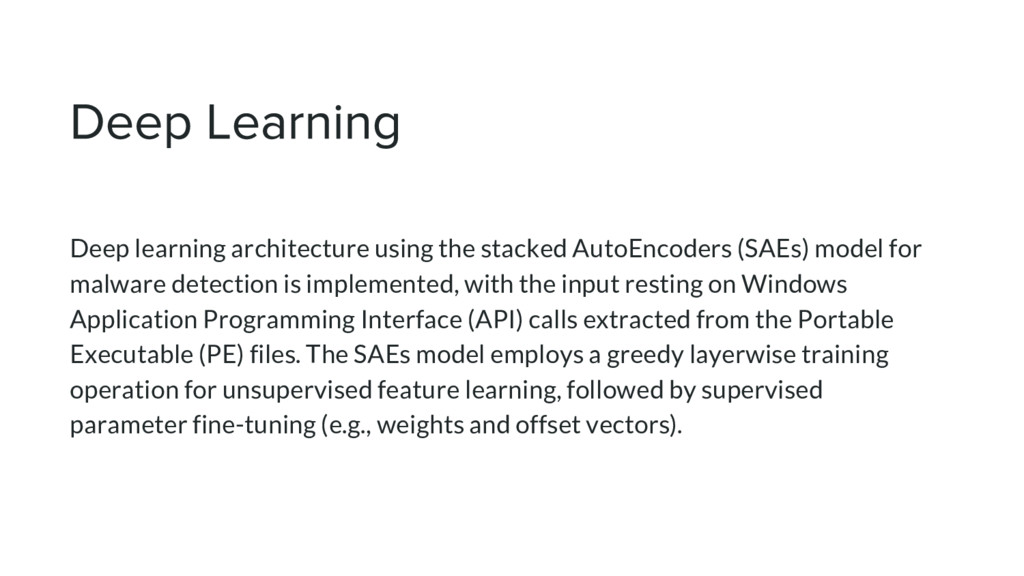 Deep learning architecture using the stacked Au...