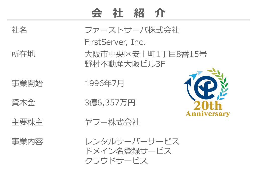 社名 ファーストサーバ株式会社 FirstServer, Inc. 所在地 大阪市中央区安土町...