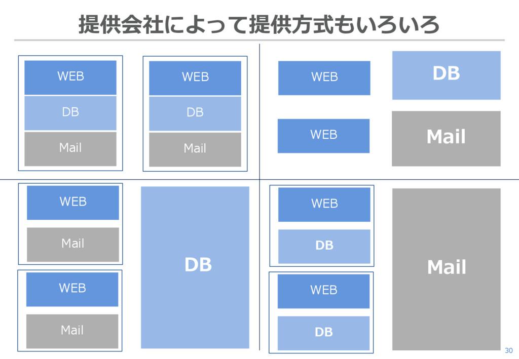 30 提供会社によって提供方式もいろいろ WEB DB Mail WEB DB Mail DB...