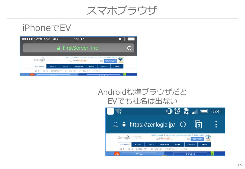 スマホブラウザ 69 iPhoneでEV Android標準ブラウザだと EVでも社名は出ない