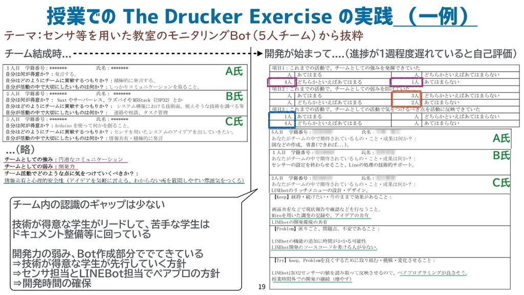 授業での The Drucker Exercise の実践 (一例) 19 テーマ:センサ等を...