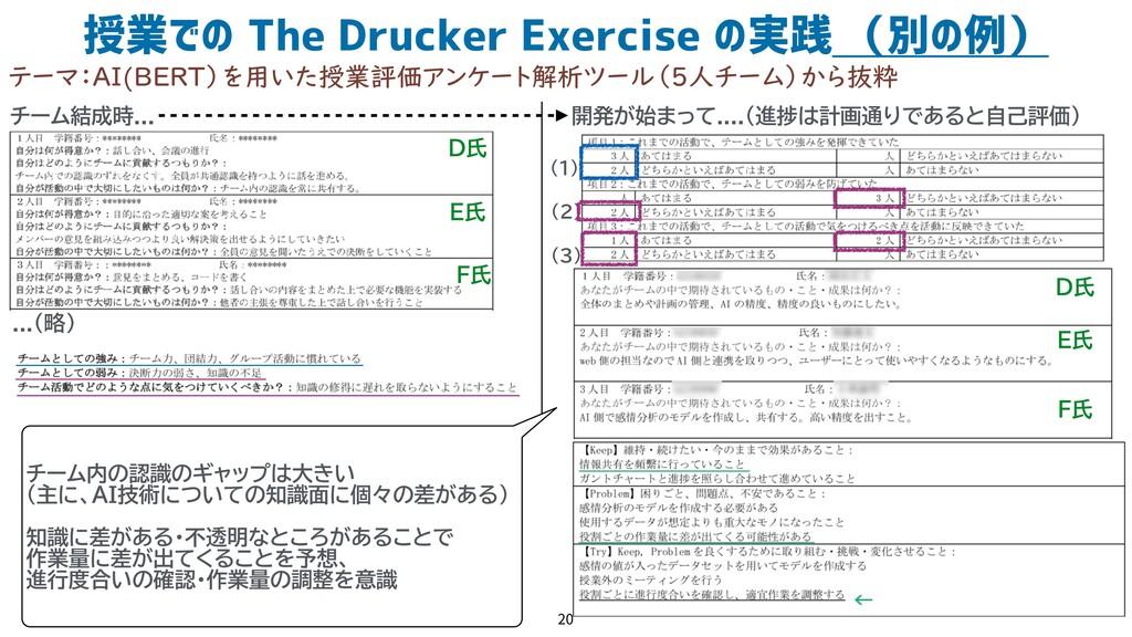 授業での The Drucker Exercise の実践 (別の例) 20 テーマ:AI(B...