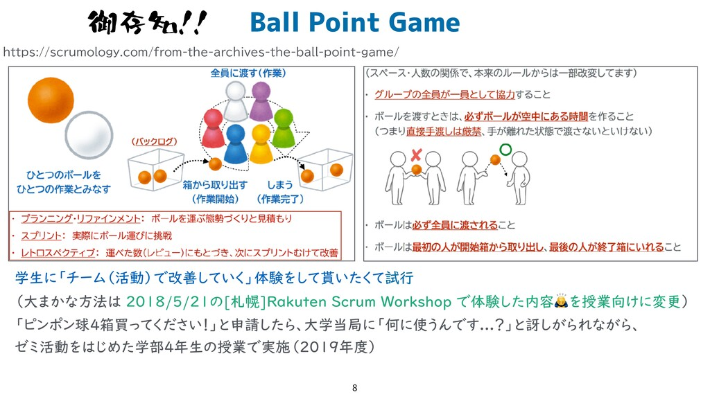 Ball Point Game 8 御存知!! https://scrumology.com/...