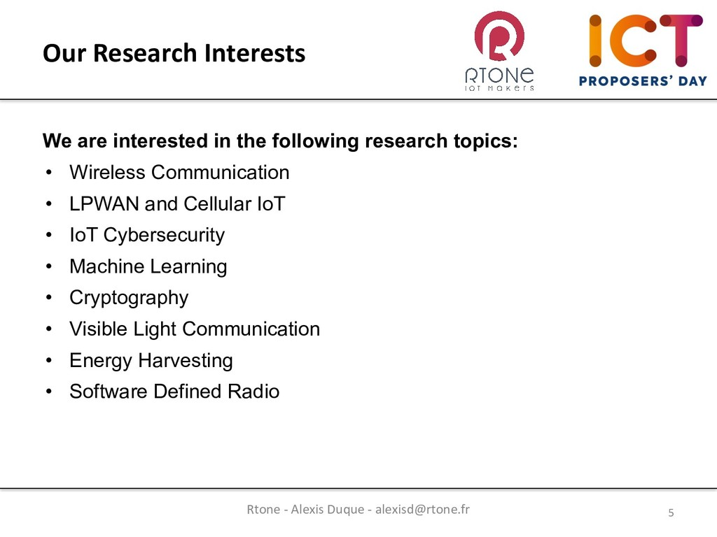 We are interested in the following research top...