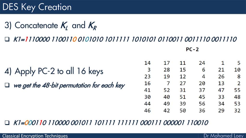 Classical Encryption Techniques 3) Concatenate ...