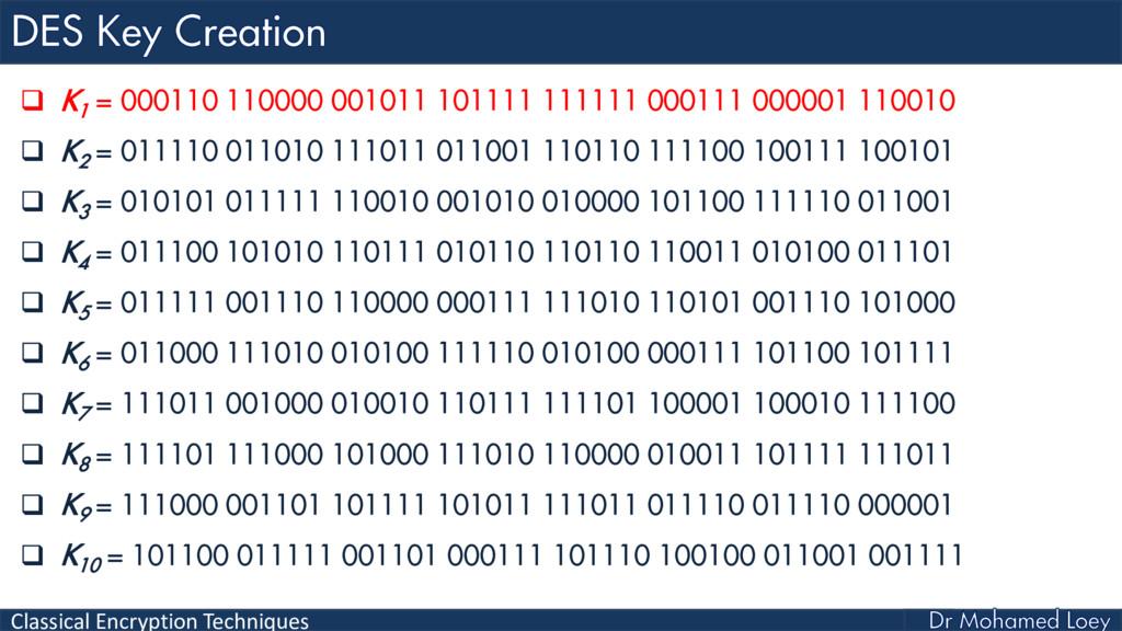 Classical Encryption Techniques  K 1 = 000110 ...