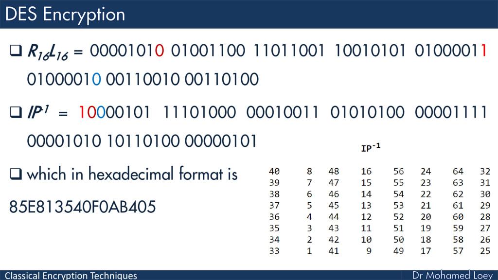 Classical Encryption Techniques  R 16 L 16 = 0...