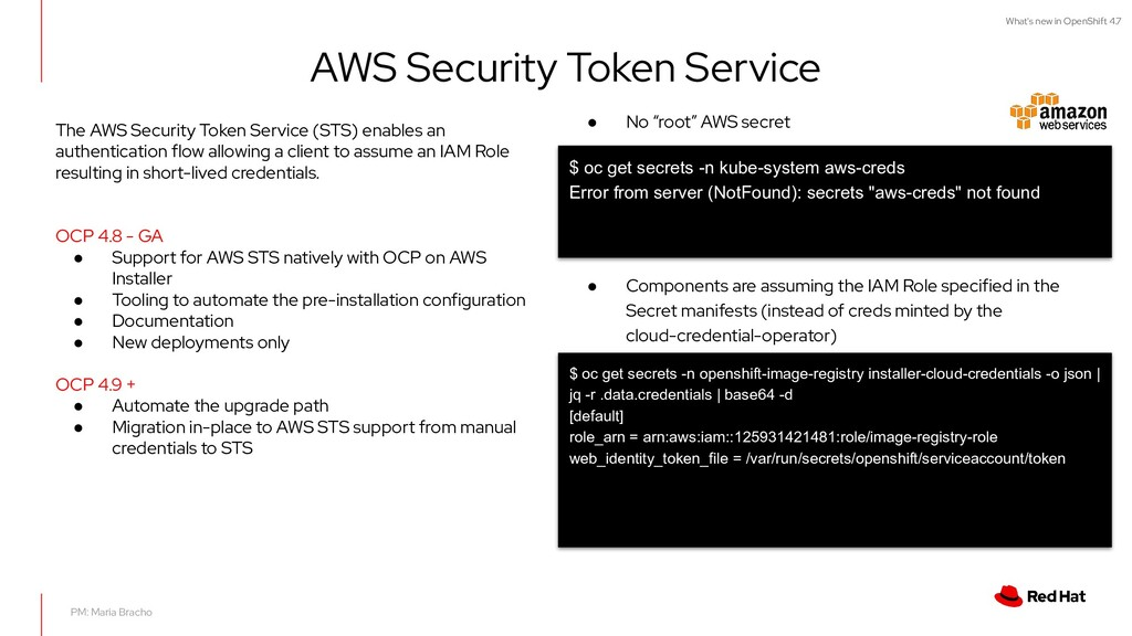 What's new in OpenShift 4.7 AWS Security Token ...