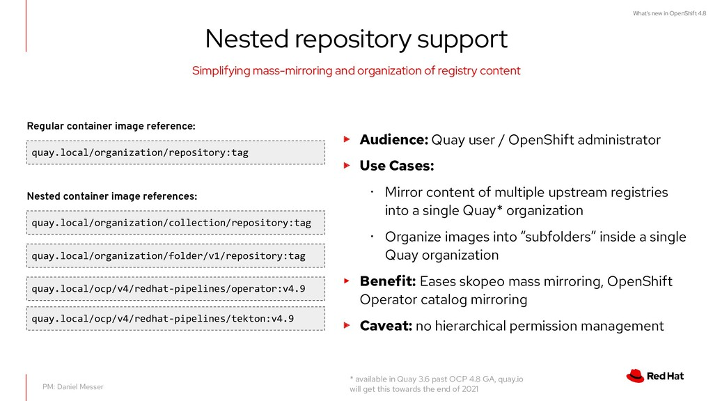 What's new in OpenShift 4.8 Nested repository s...