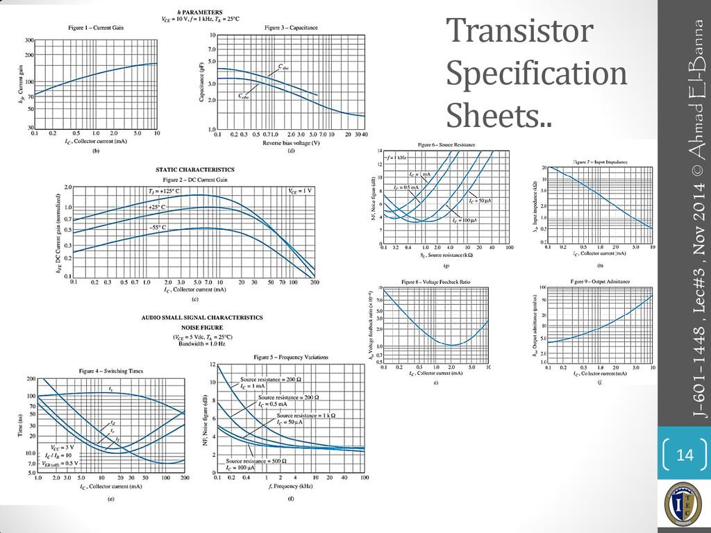 Transistor Specification Sheets.. 14 J-601-1448...