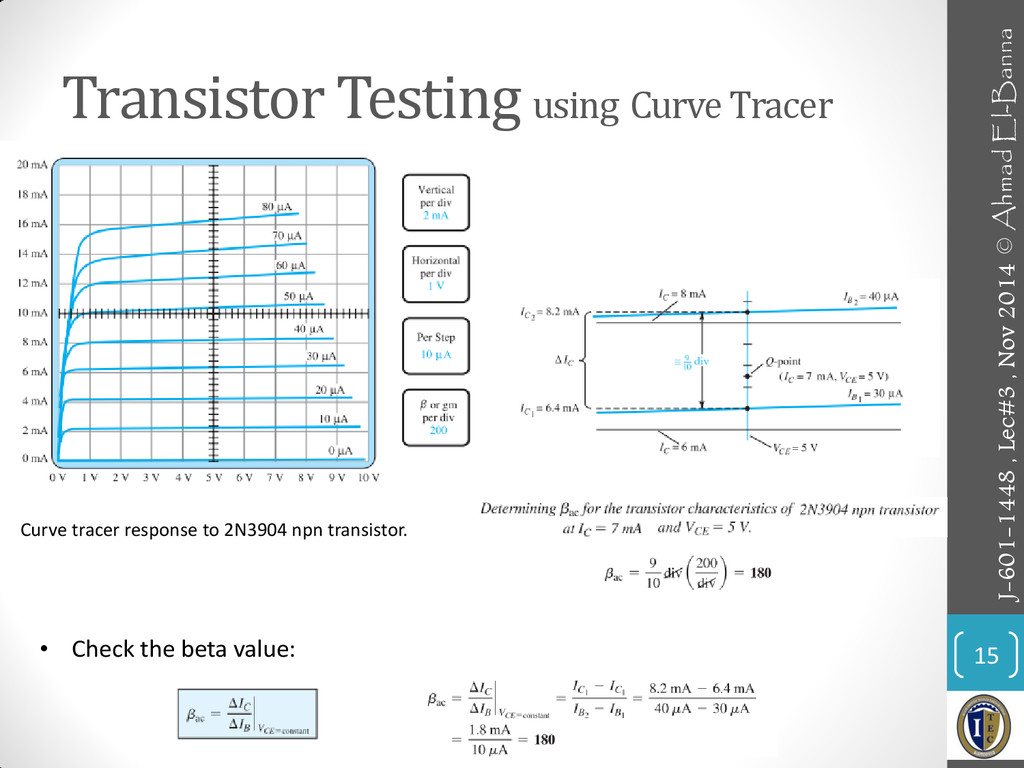 Transistor Testing using Curve Tracer 15 • Chec...